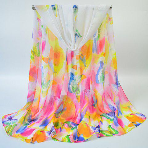 Trendy Gossamer Showy Flowers Butterfly Printed Scarf - WHITE  Mobile