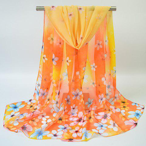 Discount Chiffon Tiny Flowers Printing Gossamer Scarf - YELLOW  Mobile
