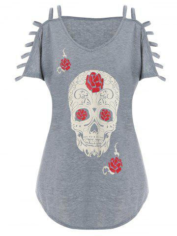 Latest Plus Size Cut Out Skull Print Tee GRAY XL