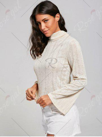 Cheap Open Back Lace Up Turtleneck Sheer Sweater - L LIGHT YELLOW Mobile