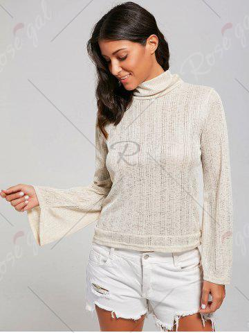 Store Open Back Lace Up Turtleneck Sheer Sweater - L LIGHT YELLOW Mobile