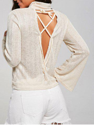 New Open Back Lace Up Turtleneck Sheer Sweater - L LIGHT YELLOW Mobile