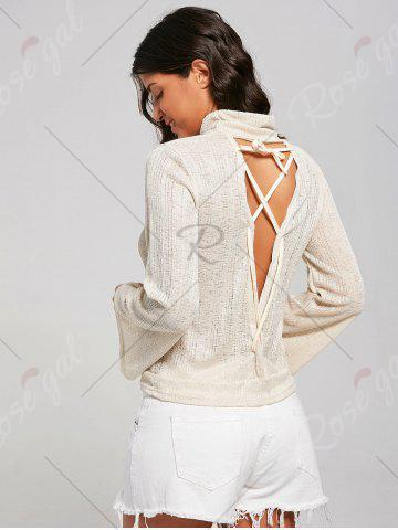 Cheap Open Back Lace Up Turtleneck Sheer Sweater - XL LIGHT YELLOW Mobile