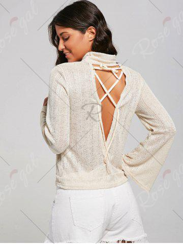 Fashion Open Back Lace Up Turtleneck Sheer Sweater - XL LIGHT YELLOW Mobile