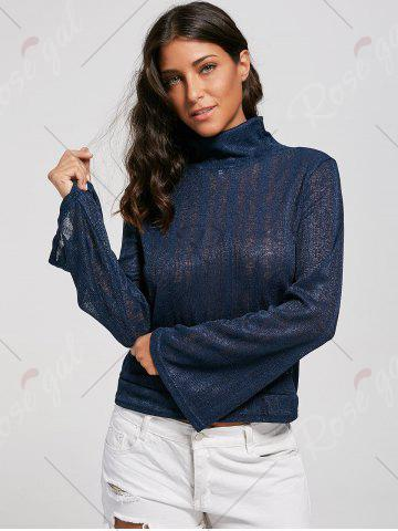 Outfit Open Back Lace Up Turtleneck Sheer Sweater - XL DEEP BLUE Mobile