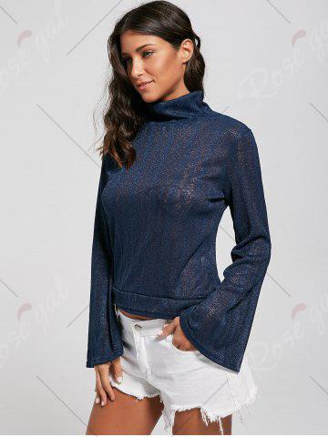 Fashion Open Back Lace Up Turtleneck Sheer Sweater - L DEEP BLUE Mobile