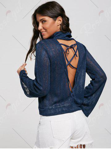 Chic Open Back Lace Up Turtleneck Sheer Sweater - S DEEP BLUE Mobile