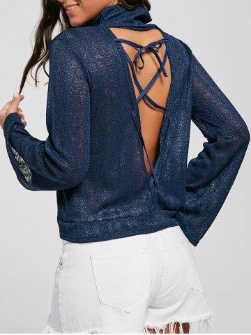 Best Open Back Lace Up Turtleneck Sheer Sweater - S DEEP BLUE Mobile