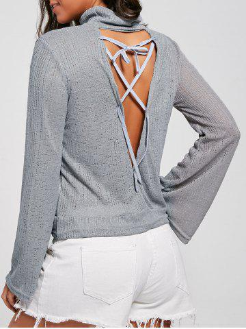 New Open Back Lace Up Turtleneck Sheer Sweater - XL GRAY Mobile