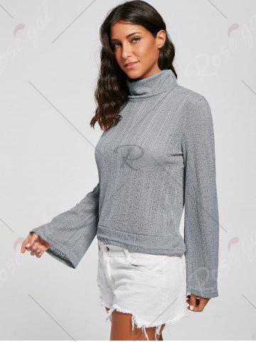 Discount Open Back Lace Up Turtleneck Sheer Sweater - L GRAY Mobile