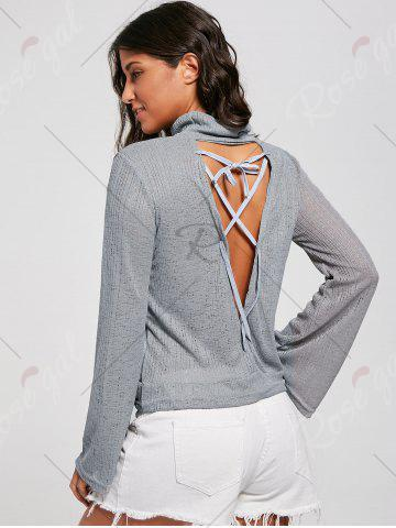 Sale Open Back Lace Up Turtleneck Sheer Sweater - M GRAY Mobile
