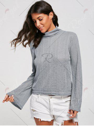 Sale Open Back Lace Up Turtleneck Sheer Sweater - S GRAY Mobile