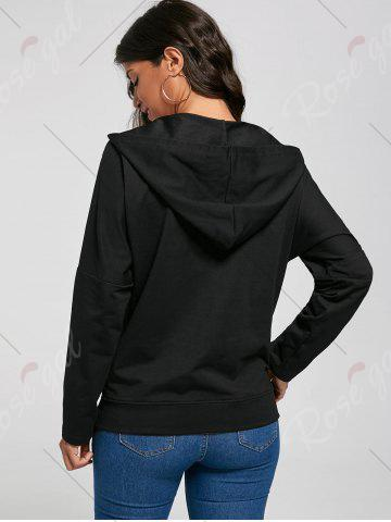 Fancy Crossed Lace Up Hoodie - M BLACK Mobile