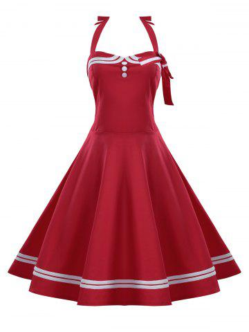 Button Embellished Plus Size Halter Retro Pin Up Dress - Red - 3xl