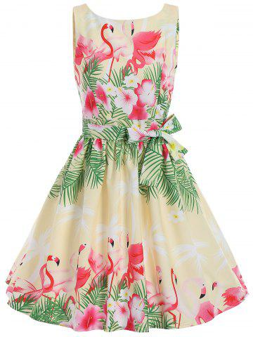 Swan Print A Line Summer Party Vintage Dress - Yellow - Xl