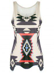 Casual Graphic Geometric Print Tank Top - KHAKI