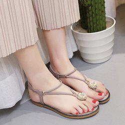 Faux Pearl Flat T-Strap Thong Sandals -