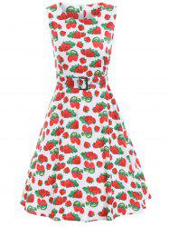 Vintage Strawberry Print A Line Dress