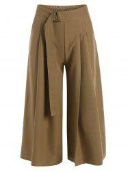 High Waist Belted Cropped Wide Leg Pants