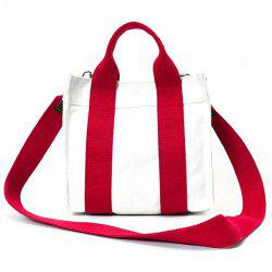 Striped Canvas Tote Bag - RED