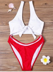 Cut Out One-piece Two Tone Swimwear - RED AND WHITE