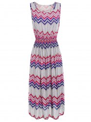 Zigzag Dotted Print Sleeveless Midi Dress