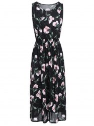 High Waist Sleeveless Midi Floral Leaf Dress - BLACK