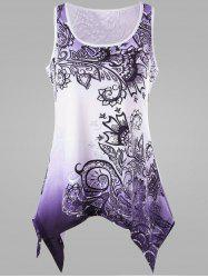 Ombre Handkerchief Plus Size Tank Top - PURPLE