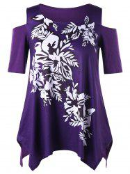 Plus Size Floral Cold Shoulder Top - PURPLE XL