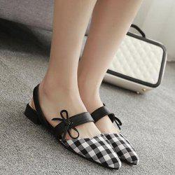 Bowknot Point Toe Plaid Flats - WHITE