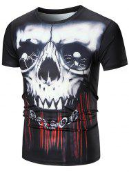 Short Sleeve 3D Skull Spider Print Tie Dye T-shirt - BLACK 3XL