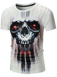 Short Sleeve 3D Skull Spider Print Tie Dye T-shirt - WHITE XL