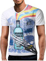 Skull Hand Graphic Rainbow Print V Neck T-shirt -