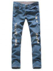 Zipper Fly Slim Fit Narrow Feet Distressed Jeans