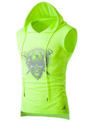 Drawstring Hooded Skull Print Sport Tank Top - NEON GREEN XL