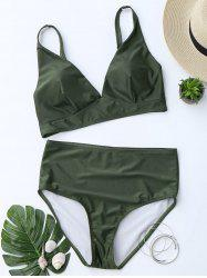 High Waist Low Cut Bikini Suit - Blackish Green - M