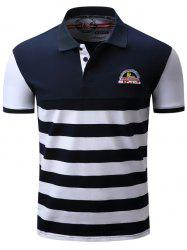 Badge Embroidered Color Block Panel Stripe Polo T-shirt - BLUE AND WHITE L