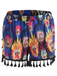 Tassel Feather Print Mini Plus Size Shorts - BLUE