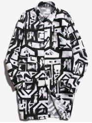 Chest Pocket Geometric Printed Coat - WHITE AND BLACK L