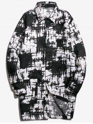 Chest Pocket Tie Dyed Coat - WHITE AND BLACK L