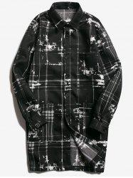 Turndown Collar Tie Dyed Checked Coat - BLACK