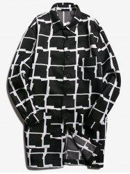 Chest Pocket Turndown Collar Checked Coat - BLACK 2XL