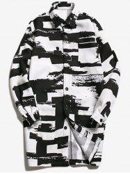 Turndown Collar Geometric Printed Coat - WHITE AND BLACK M
