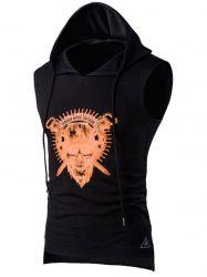 Drawstring Hooded Skull Print Sport Tank Top