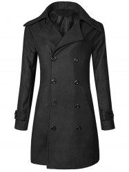 Wide Lapel Double Breasted Trench Coat - BLACK XL
