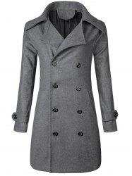 Wide Lapel Double Breasted Trench Coat - GRAY L