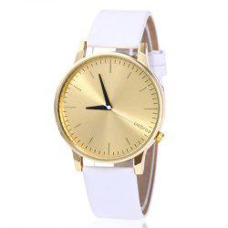 Minimalist Faux Leather Strap Quartz Watch -