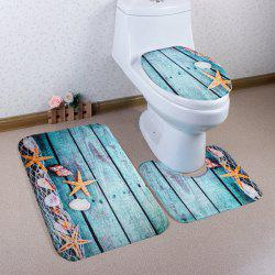3Pcs/Set Flannel Plank Starfish Bath Toilet Mat - LAKE BLUE