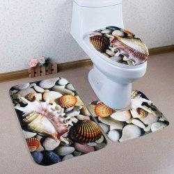 Conch Cobblestone Flannel 3Pcs Bathroom Mat Set