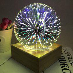 Colorful 3D Fireworks Ball Shape Table Lamp with Wood Base - PURPLE